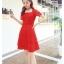 ชุดเดรสออกงาน ผ้าลูกไม้เนื้อดี เนื้อเงาสวยมากๆ สีแดง คอเสื้อทรงสี่เหลี่ยม thumbnail 5