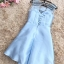 ชุดราตรีสั้น ออกงานสุดหรู ตัวชุดเป็นผ้าไหมสีฟ้า แขนกุด ช่วงไหล่เป็นผ้าโปร่ง thumbnail 4
