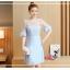 ชุดเดรสสีฟ้า ตัวเสื้อผ้าลูกไม้ปักลายใบไม้สีฟ้า เย็บต่อกับกระโปรงผ้าชีฟองเนื้อดีสีฟ้า thumbnail 5