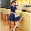ชุดเดรสน่ารัก ผ้าชีฟองชนิดเนื้อทราย สีน้ำเงิน thumbnail 6