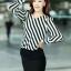 เสื้อทำงาน เสื้อแฟชั่นเกาหลี เสื้อเกาหลี เสื้อแขนยาว ผ้าชีฟอง ลายเฉียงสีขาวสลับดำ คอวี สวยมากๆ (พร้อมส่ง) thumbnail 2