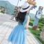 ชุดเดรสผ้าชีฟอง สีฟ้า แขนกุด คอวี thumbnail 12