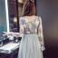 ชุดเดรสน่ารัก ตัวเสื้อผ้าถักโครเชต์ลายดอกไม้ 3 สี (เทา ครีม และชมพูกะปิ) แขนยาว thumbnail 4