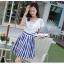 ชุดเดรสเกาหลี ตัวเสื้อผ้าชีฟองสีขาว แต่งคอถ่วง แขนเสื้อระบายเหมือนแบบ thumbnail 3