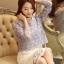 เสื้อผ้าถักโครเชต์ แฟชั่นเกาหลีมาใหม่ สีเทาอมฟ้า แขนยาว ชายปล่อย thumbnail 6