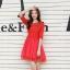 ชุดเดรสแฟชั่น สีแดง ผ้าลูกไม้อย่างดี หน้าอกเสื้อแต่งด้วยผ้าลายดอกไม้ ประดับด้วยมุก สีแดง thumbnail 6