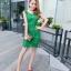 ชุดเดรสสวยๆ ผ้าถักรูปดอกไม้ สีเขียว เดรสทรงตรง เข้ารูปช่วงเอว thumbnail 7