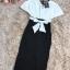 ชุดเดรสสวยๆ ผ้าคอตตอนผสมเนื้อนิ่ม ยืดหยุ่นได้ดี ตัวเสื้อทรงปีกค้างคาว คอวี สีขาว thumbnail 11