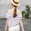 เสื้อผ้าชีฟอง ชนิดหนาสีเทา สายเดี่ยว เปิดไหล่ หน้าอก ระบายด้วยผ้า 2 ชั้น thumbnail 4