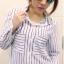เสื้อแฟชั่น สุด Chic เสื้อเชิ้ต แขนยาว ลายทาง รหัส SU9014_2 thumbnail 1