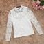เสื้อสีขาว เสื้อผ้าลูกไม้สีขาวแขนยาว ช่วงคอเสื้อไหล่เป็นผ้ามุ้งซีทรู thumbnail 9