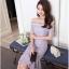 ชุดเดรสออกงาน ตัวเสื้อผ้าลูกไม้ลายดอกไม้สีชมพู ซับในด้วยผ้าสีฟ้า ไหล่ป้า thumbnail 4