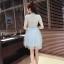 ชุดเดรสสวยๆ ตัวเสื้อผ้าลูกไม้ชนิดเนื้อนิ่ม ยืดหยุ่นได้ดี สีฟ้า คอจีน แขนสั้น thumbnail 9