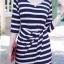 เสื้อผ้าแฟชั่น สุด Chic ชุดเดรสเกาหลี ลายทาง หน้าสั้น-หลังยาว รหัส RN71_2 thumbnail 1