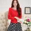 แฟชั่นเกาหลี set เสื้อสูท สีแดง และกระโปรง สวยมากๆ thumbnail 1