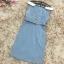 ชุดเดรสเกาหลี ผ้าคอตตอนผสมสีฟ้าเข้ม คอปกสีขาว ไหล่ป้าน เดรสทรงตรงสอบ thumbnail 12