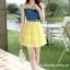 ชุดเดรสสวยๆ เดรสตัวเสื้อผ้ายีนส์ อกและไหล่ผ้าลูกไม้แบบนิ่มสีเหลือง ยืดหยุ่นได้ดี กระโปรงผ้าไหมแก้วสีเหลือง thumbnail 7