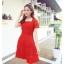 ชุดเดรสออกงาน ผ้าลูกไม้เนื้อดี เนื้อเงาสวยมากๆ สีแดง คอเสื้อทรงสี่เหลี่ยม thumbnail 2