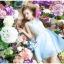 ชุดเดรสออกงาน ผ้าชีฟอง เนื้อดี สีฟ้า แขนกุด ตัวเสื้อเย็บซ้อนด้วยผ้าถักลายดอกไม้ สีขาว thumbnail 1