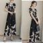 แฟชั่นเกาหลี set เสื้อและกางเกงขายาวลายนกน่ารักมากๆ เสื้อผ้าชีฟองชนิดหนา สีดำ พิมพ์ลายนก thumbnail 4