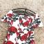 ชุดเดรสสั้น ผ้าคอตตอนผสม spandex เนื้อนุ่มมากพื้นสีขาว ลายดอกกุหลาบสีแดง thumbnail 12