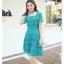 ชุดเดรสลูกไม้ ใส่ออกงานผ้าเนื้อดี เนื้อเงาสวยมากๆ สีเขียวมรกต คอเสื้อทรงสี่เหลี่ยม thumbnail 4