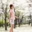 เสื้อผ้าแฟชั่นเกาหลี Set 2 ชิ้น เสื้อผ้าชีฟองสีชมพู แขนระบายปักมุก พร้อมเข็มขัด สวยมากๆ thumbnail 6