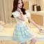ชุดเดรสเกาหลี ตัวเสื้อผ้าชีฟองชนิดหนา สีขาว เปิดไหล่ thumbnail 2