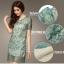 ชุดเดรสสั้น Qisuo ชุดเดรสผ้าไหมแก้ว ปักลายดอกไม้สุดหรู สีเขียวมรกต ทรงตรง ใส่ออกงานสวยมากๆ (พร้อมส่ง) thumbnail 4