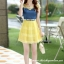 ชุดเดรสสวยๆ เดรสตัวเสื้อผ้ายีนส์ อกและไหล่ผ้าลูกไม้แบบนิ่มสีเหลือง ยืดหยุ่นได้ดี กระโปรงผ้าไหมแก้วสีเหลือง thumbnail 8