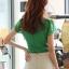 เสื้อทำงาน แฟชั่นเกาหลี สีเขียว คอวีประดับมุดเงิน แขนระบาย กระดุมผ่าหน้า เสื้อผ้าสาวทำงาน ราคาถูก สวยมากๆครับ (พร้อมส่ง) thumbnail 3