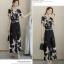 แฟชั่นเกาหลี set เสื้อและกางเกงขายาวลายนกน่ารักมากๆ เสื้อผ้าชีฟองชนิดหนา สีดำ พิมพ์ลายนก thumbnail 8