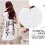 ชุดเดรสน่ารัก ผ้าคอตตอนทอผสม เนื้อดี เงาสวย สีขาว แขนสั้น thumbnail 4