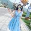 ชุดเดรสผ้าชีฟอง สีฟ้า แขนกุด คอวี thumbnail 11