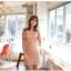 ชุดเดรส ชุดแซกเกาหลี Brand FLENKIY ชุดเดรสลูกไม้ ตัวชุดด้านหน้าผ้าถักสีชมพูโอรส คอเสื้อและเอวคาดด้วย ผ้าชีฟองสีชมพูโอรส สวยมากๆครับ (พร้อมส่ง) thumbnail 3