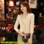 เสื้อเกาหลี style goodyou เสื้อคลุมผ้าเนื้อผสมสี beige แขนยาวแต่งผ้าซีฟองที่ขอบวนดอกกุหลาบ สวยเหมือนแบบ100% ครับ พร้อมส่ง thumbnail 1
