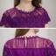 ชุดเดรสสวยๆ ตัวชุดผ้าลูกไม้ลายเส้น สีม่วง หน้าอกและชายแขนเสื้อเป็นผ้าถักลายดอกไม้ thumbnail 6