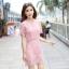 ชุดเดรสสวยๆ ผ้าถักโครเชต์ลายดอกไม้ สีชมพู ทรงตรง thumbnail 17