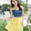 ชุดเดรสสวยๆ เดรสตัวเสื้อผ้ายีนส์ อกและไหล่ผ้าลูกไม้แบบนิ่มสีเหลือง ยืดหยุ่นได้ดี กระโปรงผ้าไหมแก้วสีเหลือง thumbnail 3