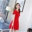 ชุดเดรสชีฟอง ชนิดหนา สีแดง ผ้านิ่มสวย ทิ้งตัวได้ดี คอระบาย thumbnail 6