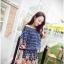 ชุดเดรสสั้น แฟชั่นเกาหลี ผ้าฝ้าย สีน้ำเงิน พิมพ์ลาย แขนยาว ไหล่ผ้าถัก มียางยืดด้านใน เอวและปลายแขนเสื้อจั๊ม thumbnail 1