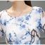 ชุดเดรสผ้าไหม เนื้อบาง พื้นสีขาว มีลายเส้นในตัว พิมพ์ลายดอกไม้โทนสีฟ้า thumbnail 9