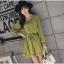 ชุดเดรสแฟชั่น ผ้าโพลีเอสเตอร์ สีเขียว (เนื้อผ้าคล้ายชีฟอง แต่หนากว่าชีฟอง) thumbnail 1