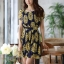 DRESS ชุดเดรสแฟชั่นแขนสั้น ผ้าชีฟอง ใส่ทำงาน สีน้ำเงินลายดอกไม้สีเหลือง อัดพลีททั้งชุด จั๊มเอว พร้อมเชือกผูกเอว สามารถใส่ออกงานได้ น่ารัก thaishoponline (พร้อมส่ง) thumbnail 3