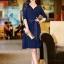 DRESS ชุดเดรสแฟชั่น คอวี เดรสแขนห้าส่วน เดรสใส่ไปทำงาน สีน้ำเงิน ผ้ายืด ใส่สบาย ดีไซด์เรียบเก๋ สามารถใส่ออกงานได้ น่ารัก thaishoponline thumbnail 2