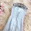 ชุดราตรียาว สีเทา ใส่ออกงานสุดหรู ตัวเสื้อเป็นผ้าโปร่ง 2 ชั้นเดินดิ้นเป็นลายเส้น thumbnail 10