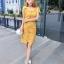 ชุดเดรสสวยๆ ผ้าถักรูปดอกไม้ สีเหลืองมัสตาร์ต เดรสทรงตรง เข้ารูปช่วงเอว thumbnail 9