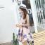 ชุดเดรสออกงาน ผ้าปักริบบิ้นเป็นรูปดอกไม้โทนสีน้ำเงิน และสีชมพูกะปิ แขนกุด thumbnail 6