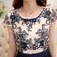 ชุดเดรสยาวสวยๆ ตัวเสื้อผ้าโปร่งปักลาย เส้นรูปดอกกุหลาย สีน้ำเงินเข้ม แขนสั้น thumbnail 11
