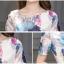 ชุดเดรสสั้น ผ้าคอตตอนผสม spandex เนื้อนุ่ม ยืดหยุ่นได้ พิมพ์ลายดอกกุหลาบ โทนสีฟ้า thumbnail 8